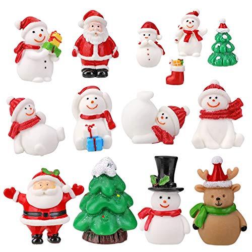 14 Stück Weihnachtsdeko Figuren Harz Miniatur Garten Deko Weihnachten Mini Ornamente Set für Fee Garten Bonsai Puppenhaus Zuhause Tischdeko DIY Zubehör Schneemann Weihnachtsmann Baum zum Schneekugeln