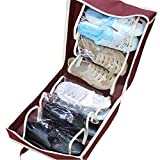 Fewear 6 GridsTravel Shoe Bags, Under Bed Shoe Storage Organizer, Portable Shoes Travel Storage Bag Organizer Tote Luggage Carry Pouch Holder (Wine)