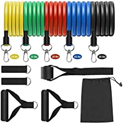 【Adjustable Resistance Bands】- Yellow band(10 lbs); Green band(15 lbs); Red band(20 lbs); Blue band(25 lbs); Black band(30 lbs). All exercise bands can be used alone, Each tube band is double layered & carefully constructed to provide longer durabili...