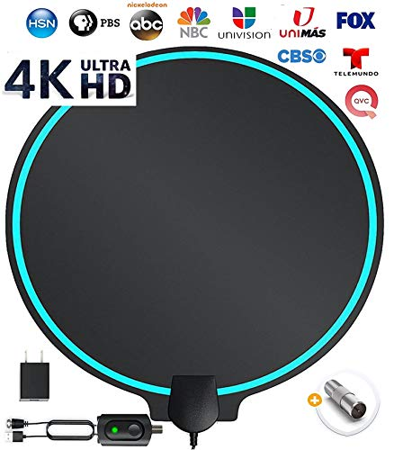 SETEK Amplified HD Digital TV Antenna Best Ultra Long Range, Support 4K 1080p Fire tv Stick, TV's | Indoor Smart Switch Amplifier Signal Booster Award 2019 Patented Round Shape Provides Better Signal