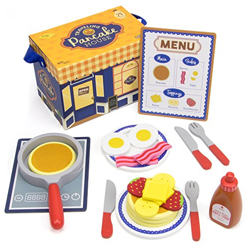 Imagination Generation Wood Eats! Traveling Pancake House Playset with 4 Pancakes, 2 Bacon Strips, 2 Eggs, Menu, and Assorted Breakfast Toppings & Cookware (24 pcs)