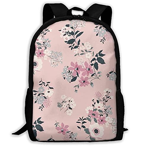 VJSDIUD Pink Watercolor Flowers Spring Floral Theme Travel Zaino Cartellas for Teens Kids Boys Girls, Casual Daypack Zainos Bookbag, Water Resistant College Travel Daypack