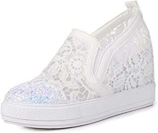 Women 's Mesh Comfortable Platform Breathable Casual Shoes, Wedges Slip on Spring Summer Fashion Sneakers