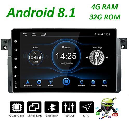 LEXXSON Radio para BMW e46 pantalla| Navegador Android 8.1 4G RAM+32G ROM Pantalla IPS de 9 pulgadas con RDS/Bluetooth/SD/USB/apoyo Enlace espejo Control del volante para BMW E46(1999-2004)