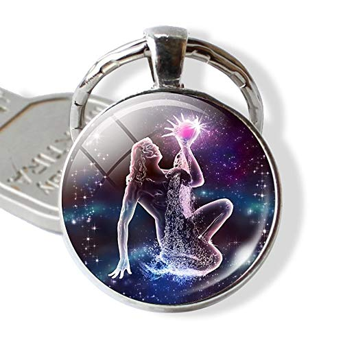 Persönlichkeit Schlüsselanhänger Keychain Constellation Schlüsselanhänger Tierkreis-Zeichen Schlüsselanhänger Anhänger Schmuck Waage Widder-Löwe-Mode Geburtstags-Geschenk (Color : Aquarius)