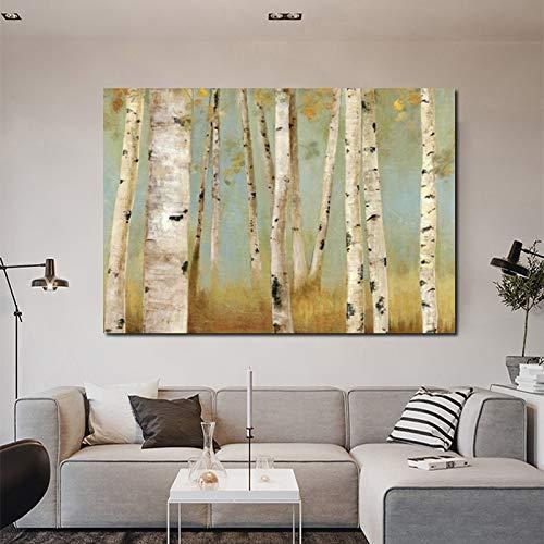 Frameloos Bomen bos foto's witte berk canvas schilderij kunst aan de muur foto's voor de woonkamer slaapkamer nachtkastje posters home decor <> 40x60cm