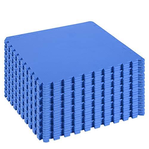 homcom Tappeto Puzzle Gioco per Bambini Cameretta 32 Pezzi in Eva Morbido Ecologico Atossico Blu 63×63cm