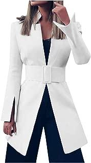 FANFU Women's Fashion Autumn and Winter New Long Sleeve Waistband Suit Coat