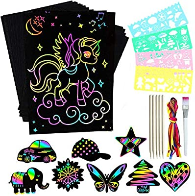 ZZLWAN Scratch Paper Art Set for Kids, 50pcs Rainbow Magic Scratch Off Arts Crafts for Girls Toys Age 4-12,Best Christmas Birthday Gifts for 5 6 7 8 9 10 Year Old Girl Boys