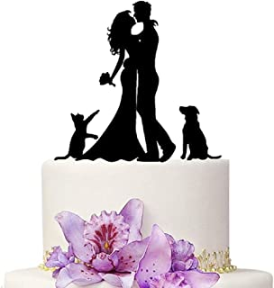 Wedding Cake Toppers Bride and Groom With Cat And Dog Animal Black Color Acrylic Silhouette Wedding Party Engagement Decoration
