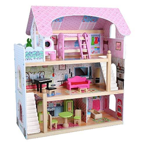 AK Sport 0550008 Holz Puppenhaus Und Acc, rosa