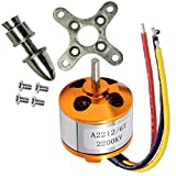 abcGoodefg A2212 Brushless Motor 2200KV Outrunner Brushless Motor RC Accessories Kit with Mounts for RC Aircraft Plane Glider Quadcopter Helicopter Copter Multi-Copter