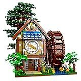 Ideas Juego de construcción de Modelo de casa de árbol, 2432 Piezas HT92037 Moc Bloques de construcción de Bricolaje Casa de árbol de Rueda hidráulica con Kit de Modelo de Reloj para Adultos
