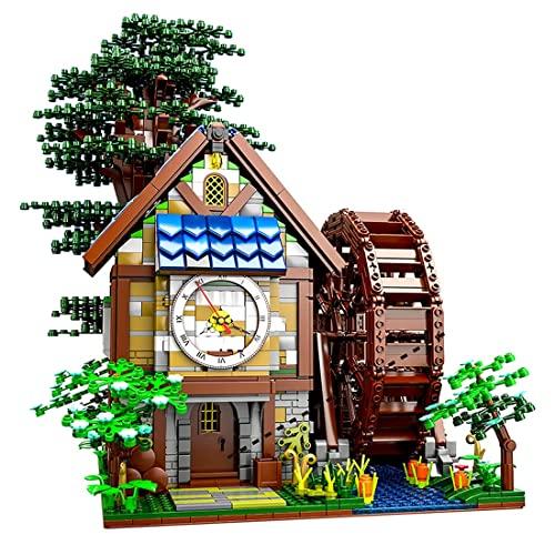 Barm Edificio de casa Modular, 2432 Bloques, Rueda hidráulica giratoria, casa de árbol con Reloj, Motor, Modelo de Arquitectura Creativa de Bricolaje, Compatible con Lego Ideas 21318