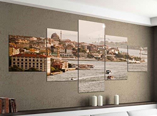 Acrylglasbilder 5 Teilig 200x100cm Skyline Istanbul Türkei Moschee Druck Acrylbild Acryl Acrylglas Bilder Bild 14F427, Acrylgröße 11:Gesamtgröße 200cmx100cm