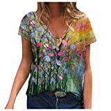 Women's Striped Ringer Crop Top Summer Short Sleeve T-Shirts Puff Sleeve Tops for Womens Going Out Tops for Womens Summer Tank Tops for Womens Tunics Or Tops to Wear with(#3-Yellow,L)