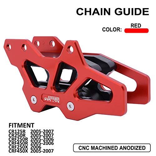 YSMOTO - Protector de Cadena de Aluminio CNC para Honda CR125R CR250R CRF250R CRF450R CRF250X CRF450X CR 250R CRF 2005-2007 05 06 07 2005 2006 2007 Dirt Bike Red