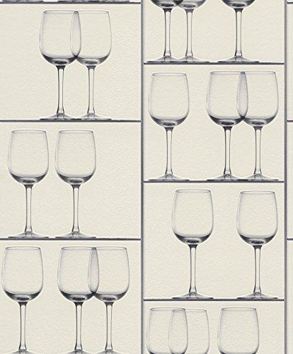 Papieren behang Rasch wijn glazen vitrine wit lilagrijs 879803
