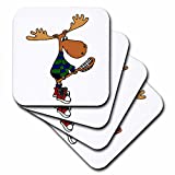 3dRose Funny Moose with LaCrosse Stick Art - Soft Coasters, set of 4 (cst_224760_1)