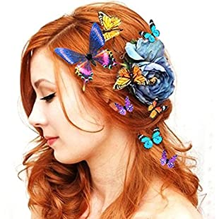Women Lady Girls Wedding Bride Bridal 5PCS 3D Butterfly Hairclip Hair Clips Refrigerator Magnet Ornament (Color/Size Random) 80Store