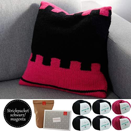 MyOma Kissen Strickpacket-Kissen selber Stricken DIY Set Strickset-6 Knäuel Merino Mix Big Wolle+Strickanleitung-in den Farben Magenta (Fb3034) und schwarz (Fb3200)