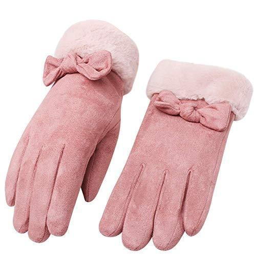 「4色」Caseeto 手袋 てぶくろ グローブ 女性用 レディース 通勤 通学 手袋 防寒 暖かい ファー付きリボン手...