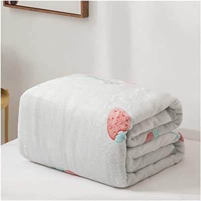フランネル毛布、シングル冬暖かいイチゴ柄コーラルフリース毛布、暖かいフリースナップブランケット (Size : 120cm×200cm)