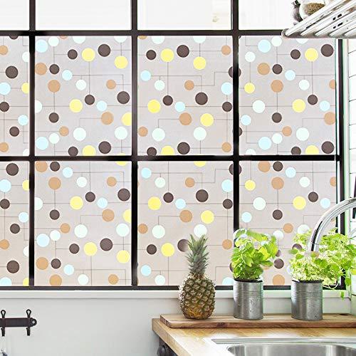 YSHUO raamstickers decoratieve privacy zelfklevende raamfolie geen lijm statische film op de gebrandschilderde glasfolie behang badkamer