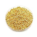 HOUSWEETY 1000 Perles Intercalaires Lisse Rond Dore 3mm Dia.