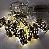 OUYAWEI Islamic Ramadan Iron Art String Light Golden Home Decoraton Lantern Battery Golden Palace Light - White 1.65 Meters 10 Lights - Always Bright - Battery