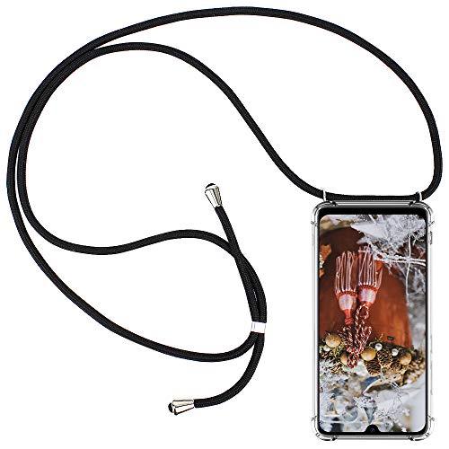 CLM-Tech Carcasa con Cuerda para Colgar Compatible con Xiaomi Mi 9 - Funda Silicona Transparente con Cordon para Llevar en el Cuello, Negro