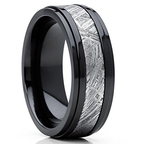 8MM Herren Schwarz Wolframcarbid Ring Verlobungsringe Trauringe Hochzeitsband mit Schwarzes Zirkonium und echte Muonionalusta Meteoriten Einlage 60
