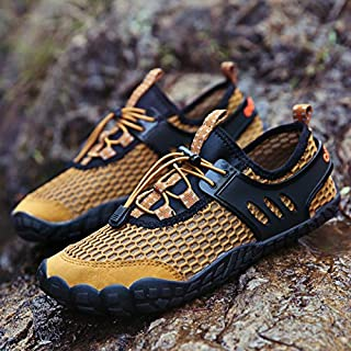 YKDY Round Head Mesh Lightweight and Breathable Outdoor Walking Shoes (Color:Black Size:39)