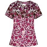 wxdsnh t-shirt da infermiera estiva da donna con scollo a v stampata slim-fit casual