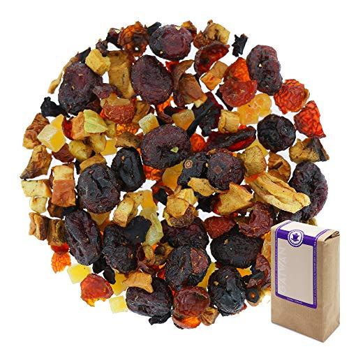 Sabor: redondo, afrutado, poco ácido Preparación: 4-5 cucharaditas (10-15g) por 1 litro de agua, temperatura del agua 100°C, tiempo de infusión 4-5 minutos. Ingredientes: arándanos azucadaros y la papaya, trozos de manzana, rosa mosqueta, sabores, re...