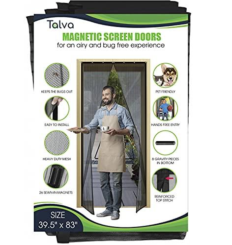 """Magnetic Screen Door by Talva - Mesh Heavy Duty - Fits Doors up to 34' x 82' - Hands Free, Kid Friendly - Screen Door with Magnets, Hook & Loop (Screen Size: 35.5"""" X 83"""")"""