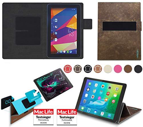 reboon Hülle für Captiva Pad 10 3G Plus Tasche Cover Case Bumper | in Braun Wildleder | Testsieger