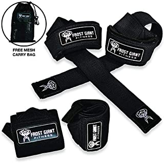 Premium Wrist Wraps + Lifting Straps Bundle w/Carry Bag |...