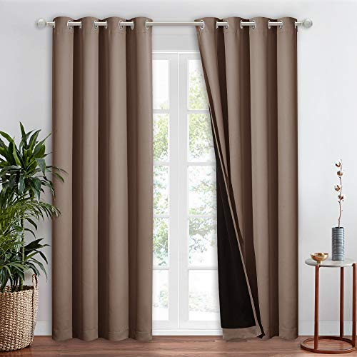 NICETOWN 100% Blackout Curtain for Windows, Noise Reduction and Privacy Curtain for Patio Door, Black Lined Blackout Drape with Grommet Top, Cappuccino, 1 PC, W52 x L84