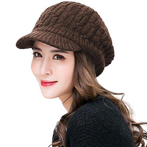 Comhats Winter Damen Strickmütze warme Beanie mit Schirm Skimütze Outdoor Kaffeebraun