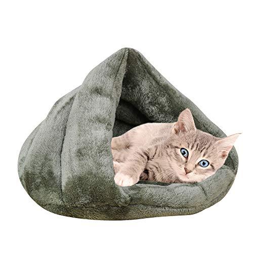 Vejaoo Warm Hundebett Haustierbett Kuschelhöhle Schlafsack für Katzen Kätzchen und Hund XZ001 (M: 60 * 50 * 32cm, Dark Green)