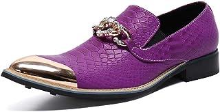 YOWAX Zapatos de Cuero de los Hombres del Metal del Dedo del pie Zapatos de Cuero de Serpiente patrón Casquillo de la Mane...