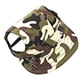 Wakeu Dog Hat with Ear Holes, Pet Small Dogs Baseball Cap for Summer (Camouflage, M)