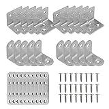 Yinettech - Juego de 30 placas de unión rectas y 90 grados de ángulo recto, kit de soportes con tornillos de acero inoxidable resistente