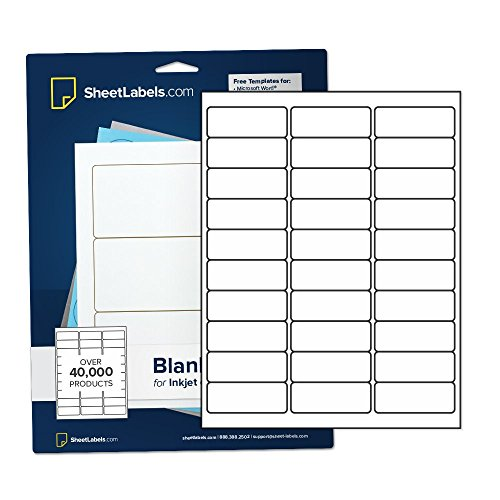 """Glossy White Address Labels 1"""" x 2-5/8"""", Inkjet or Laser Printable, Easy to Peel, 750 Labels - 25 Sheets"""