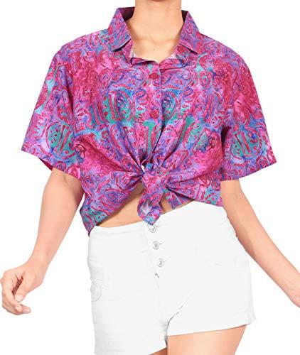 HAPPY BAY Strand Bluse Hemd der Frauen Plus Größe zuknöpfen High-Definition-3D gedruckt Aloha L-DE Größe-46-48 Rosa_AA189
