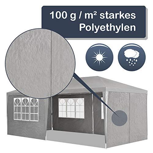 ArtLife Partyzelt 3x6 m grau mit 6 Seitenwände – Pavillon wasserabweisend & stabil – Festzelt für Garten, Terrasse, Party - Bierzelt - 5