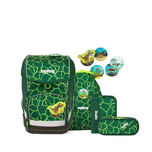 ergobag cubo Set - ergonomischer Schulrucksack, Set 5-teilig - BärRex - Grün