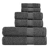 SweetNeedle - Uso diario Juego de toallas de 6 piezas, Carbón - 2 toallas de baño 70x140...