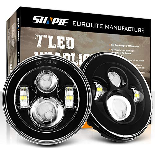 SUNPIE 7 inch Round CREE LED Headlights for Jeep Wrangler JK LJ CJ Rubicon Sahara Willys Hummer H1 H2